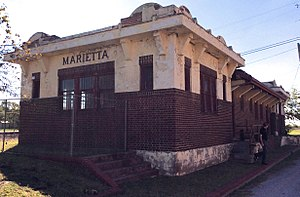 National Register of Historic Places listings in Love County, Oklahoma - Image: Train Station Marietta OK