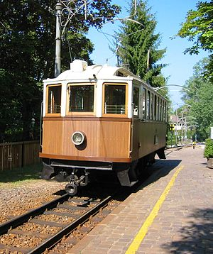 Bow collector - An old tram with a bow collector built in 1907 still running in Ritten, South Tyrol, Italy