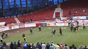 American Indoor Football - Triangle Torch (black jerseys with and red and yellow accents) vs. Lehigh Valley Steelhawks (gold jerseys with black accents) during a game at Dorton Arena, March 25, 2016