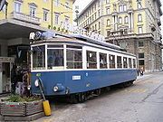 A car of the Opicina Tramway