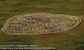 Settlements of the Cucuteni–Trypillia culture - Reconstruction of Maydanets 4000 B.C.