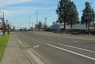 Oregon Route 8 - The highway in Beaverton near Murray Boulevard looking east