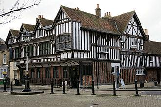 Tudor House and Garden - Tudor House, from St. Michael's Square, Bugle Street