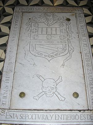 Amaro Rodríguez Felipe - Amaro Pargo tomb in the Church of Santo Domingo, which highlights the skull and crossbones