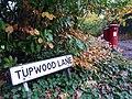 Tupwood Lane sign and postbox - geograph.org.uk - 1585920.jpg