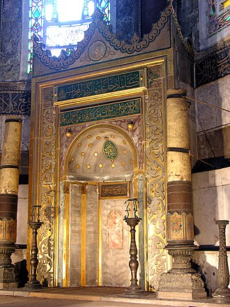 The mihrab located in the apse where the altar used to stand, pointing towards Mecca Turkey-3052 (2216463731).jpg