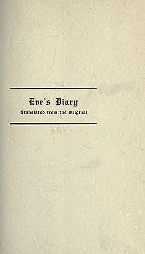 Eve's Diary - Image: Twain Eve's Diary, p. 001