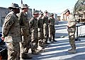 U.S. Army Brig. Gen. Clarence K.K. Chinn, right, the deputy commanding general of Afghan development south, Combined Joint Task Force 101, Regional Command East, 101st Airborne Division, thanks the 101st 130625-Z-WA247-002.jpg