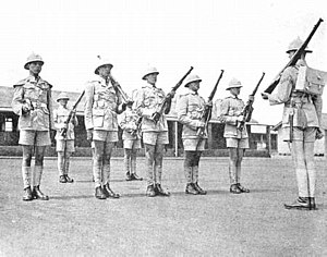 Union Defence Force (South Africa) - Union Defence Force infantry on parade, c. 1939.