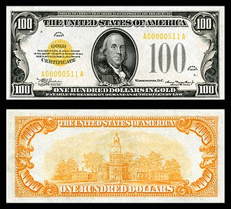 Gold certificate - $100 gold certificate (1934) depicting Benjamin Franklin.