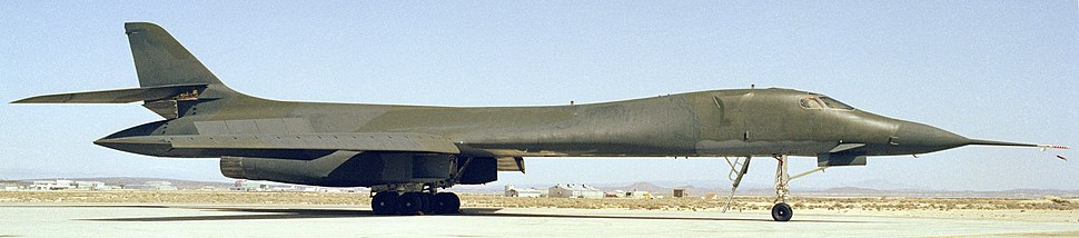 A right side view of a B-1A on the ground in 1984