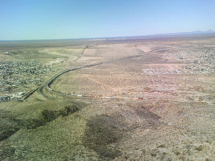 In this photo, the US-Mexico border divides Sunland Park and the Mexican state of Chihuahua. USA Mexico border New Mexico.JPG