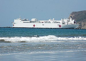 Mercy-class hospital ship - Image: USNS Mercy leaving San Diego Bay