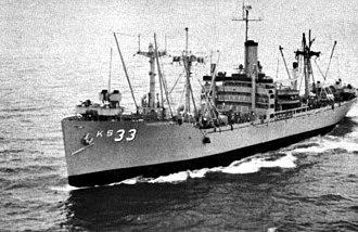 USS Antares (AK-258) - Image: USS Antares (AKS 33) underway c 1962