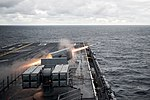 USS Bataan conducts a live-fire exercise. (31424285314).jpg