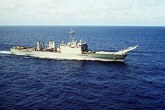 HMAS Manoora (L 52) - Image: USS Fairfax County (LST 1193) stbd bow view