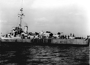 USS Loy (DE-160) off the New York Naval Shipyard on 10 March 1944