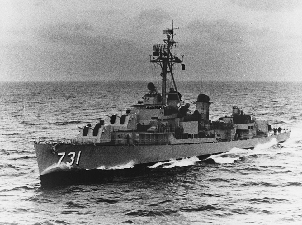 USS Maddox (DD-731) underway at sea, circa the early 1960s (NH 97900)