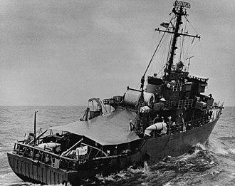 USS Pledge (MSO-492) - USS Pledge (MSO-492) underway off Vietnam in October 1967