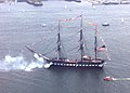 US Navy 050716-N-0335C-005 USS Constitution, the world's oldest commissioned warship afloat, fires a 19-gun salute to the city of Boston.jpg