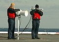 US Navy 051213-N-5661G-004 Sailors take telemetry readings for a launched RIM-7 NATO Sea Sparrow surface-to-air missile during an exercise designed to demonstrate the self-defense combat system.jpg