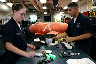 Survival kit - Sailors take inventory of a C-2A Greyhound's life raft kit in USS Kitty Hawk (CV 63) paraloft shop