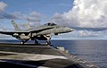 US Navy 070809-N-3038W-036 An F-A-18C Hornet assigned to Strike Fighter Squadron (VFA) 147 launches from the flight deck of the USS John C. Stennis (CVN 74).jpg