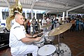 US Navy 070823-N-8704K-070 Musician 2nd Class Oscar Munoz, U.S. Navy Showband drummer attached to the Military Sealift Command hospital ship USNS Comfort (T-AH 20), performs with the band at the Estacion Hotel in downtown Buena.jpg