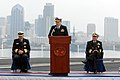 US Navy 071116-N-3659B-229 Rear Adm. James P. Wisecup gives a short speech after assuming command of Commander Carrier Strike Group (CCSG) 7.jpg