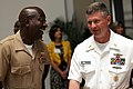 US Navy 090507-N-9818V-014 Sgt. Major of the Marine Corps Carlton Kent and Master Chief Petty Officer of the Navy (MCPON) Rick West talk before the 2009 Military Spouse of the Year Awards Luncheon at the Ronald Reagan Building a.jpg