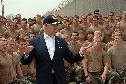 Biden speaks to Navy SEAL trainees, NAB Coronado, California, May 2009 US Navy 090514-N-4451V-548 Vice President Joe Biden meets with Basic Underwater Demolition-SEAL (BUDS) students at Naval Amphibious Base Coronado.jpg