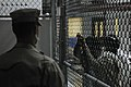 US Navy 100330-N-7456N-047 A Sailor assigned to the Navy Expeditionary Guard Battalion stands watch over a cell block in Camp 6 at Joint Task Force (JTF) Guantanamo.jpg