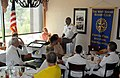 US Navy 100831-N-6736S-008 Rear Adm. Julius S. Caesar, right, vice director of Joint Concept Development ^ Experimentation at U.S. Joint Forces Command, delivers remarks to the West Shore Rotary Club.jpg