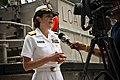 US Navy 110622-N-KK576-062 Rear Adm. Gretchen S. Herbert gives an interview to a news reporter after the Navy Cyber Forces change of command ceremo.jpg