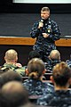 US Navy 111104-N-NR998-028 Master Chief Petty Officer of the Navy (MCPON) Rick D. West speaks to Sailors during an all-hands call at Naval Base Kit.jpg