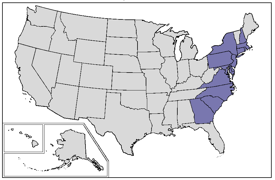 United States direct successor states from original Thirteen Colonies
