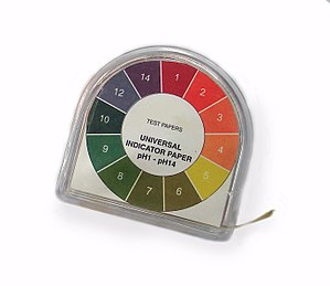 PH - Chart showing the variation of color of universal indicator paper with pH