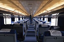 Rows of seats in a railcar