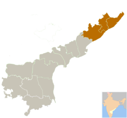Uttar Andhra region in Andhra Pradesh is Highlighted in the map