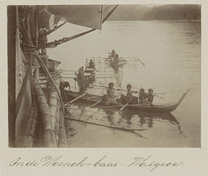 Trimaran - Trimaran pirogues used near the island Waigeo, Indonesia, in 1899.