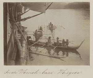 Trimaran - Trimaran pirogues used near the island Waigeo, Indonesia, in 1899.