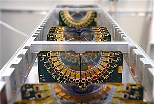 LHCb experiment - The vertex locator (VELO) during construction.