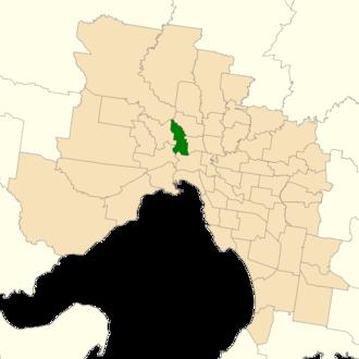 Electoral district of Essendon - Location of Essendon (dark green) in Greater Melbourne