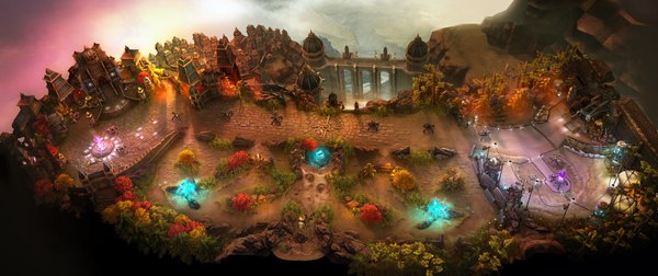 "The Halcyon Fold map from the mobile MOBA Vainglory features a single lane connecting the two team bases, and the ""jungle"" underbrush beneath the lane Vainglory Halcyon Fold map.tif"