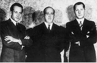 Falange Española - García Valdecasas, Ruiz de Alda and Primo de Rivera in the 1933 foundational meeting