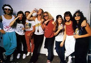 Monsters of Rock Tour 1988 - Members of Van Halen, and Metallica back stage during the Monsters of Rock Tour, 1988.