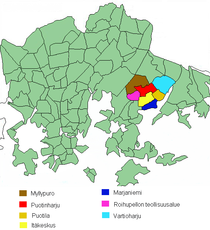 Position of Vartiokylä within Helsinki