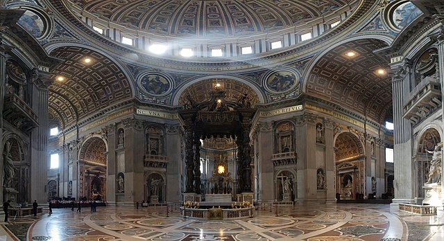 Inside of St Peters basilica, Rome.
