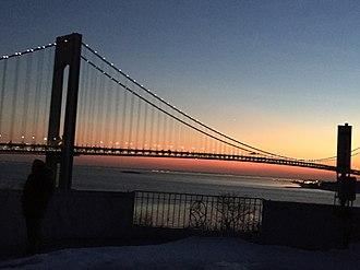 Bay Ridge, Brooklyn - Night view of the Verrazzano-Narrows Bridge from Shore Road