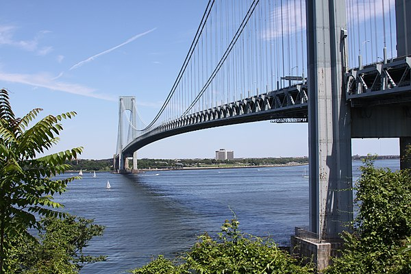 The Verrazzano-Narrows Bridge connecting Staten Island to Brooklyn across The Narrows